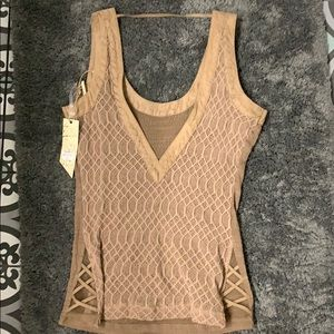 Tan Buckle tank top with suede border. Nwt